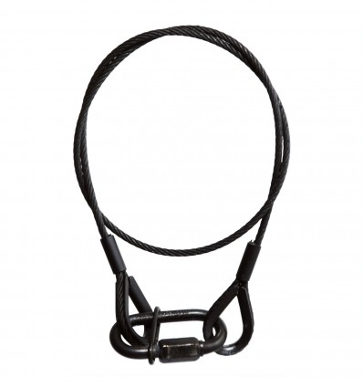 Black 5 mm Safety Rope with 2 x Thimble Eyes, 1 m and Quick Link Adam Hall Accessories S 56 102 B